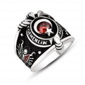 Armalı Pençe Tasarım Kırmızı Zirkon Taşlı 925 Ayar Gümüş Erkek Yüzük-3