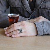 Armalı Pençe Tasarım Kırmızı Zirkon Taşlı 925 Ayar Gümüş Erkek Yüzük-4