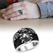 Kartal Pençesi Tasarım Siyah Zirkon Taşlı 925 Ayar Gümüş Erkek Yüzük