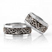 Klasik Motif İşlemeli 925 Ayar Gümüş Çift...