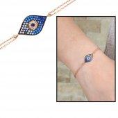 Mavi Beyaz Zirkon Taşlı Göz Nazar Tasarım 925 Ayar Gümüş Bayan Bileklik
