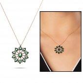 Beyaz Zirkon Taşlı Güneş Damlası Tasarım Yeşil 925 Ayar Gümüş Bayan Kolye