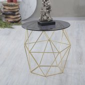 Metal Ayaklı Glass Stone Yan Sehpa