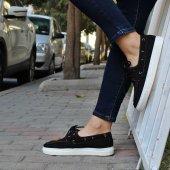 Siyah Spor Keten Bayan Ayakkabı Linen-4
