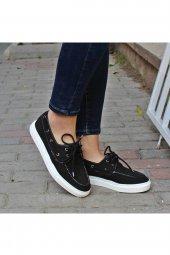 Siyah Spor Keten Bayan Ayakkabı Linen-2