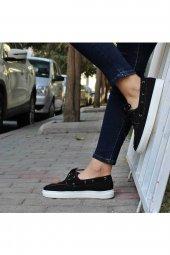 Siyah Spor Keten Bayan Ayakkabı Linen-3