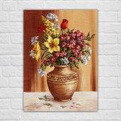Yağlı Boya Vazo Çiçekleri Kanvas Tablo