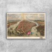 Newyork Sehri Eski Cizim Harita Cografya Kanvas Ta...