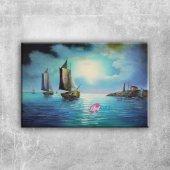 Yelkenli Savaş Tekneleri 6, Deniz Manzaraları Kanv...