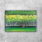 Sonbaharda Kavak Ağaçları, Yeşil Ağaçlar Kanvas Ta...