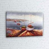 Renkli Kayıklar, Yelkenliler Deniz Manzarası 5 Sanat Canvas Tablo-2