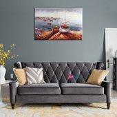 Renkli Kayıklar, Yelkenliler Deniz Manzarası 5 Sanat Canvas Tablo-3