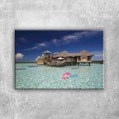 Maldivler Kumsal Deniz Doğa Manzaraları Kanvas Tab...