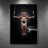 Güçlü Bebek Siyahi Zenci Spor Dekoratif Kanvas...