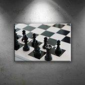 Satranç Siyah Beyaz Fotoğraf Dekoratif Canvas Tabl...