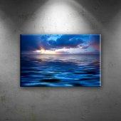 Mavi Mor Deniz Manzarası Dekoratif Canvas Tablo