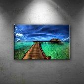 Maldivler, Bambu Evler Ve Deniz Dekoratif Canvas Tablo