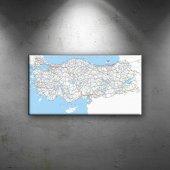 Türkiye Karayolları Haritası 2 Dekoratif Canvas Ta...