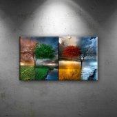 Bir Ağaç Dört Mevsim Doğa Manzaraları Dekoratif Kanvas Tablo