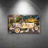 Klasik Otomobil Yağlı Boya Sanat Dekoratif Kanvas Tablo