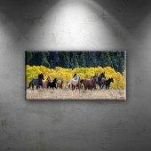 Koşan At Sürüsü Hayvanlar Dekoratif Kanvas...