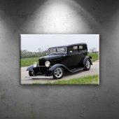 Siyah Klasik Otomobil Dekoratif Kanvas Tablo