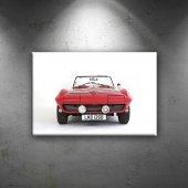 Corvette Stingray Kırmızı Klasik Otomobil Dekoratif Kanvas Tablo