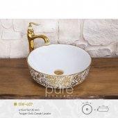 Gardenia Gold White Çanak Lavabo