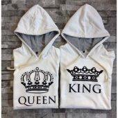 Beyaz King Queen Kapşonlu Sevgili Çift Sweatshirt