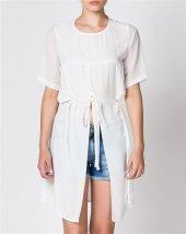 Bonalodi Dekolte Şifon Beyaz Uzun Kadın Bluz-10