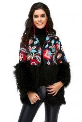 Bonalodi Çiçek Desen Siyah Kollar Peluş Basen Altı Kadın Ceket