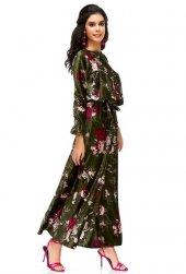 Bonalodi Ön Fırfır Detaylı Maxi Uzun Haki Çiçek Desenli Kadife Elbise