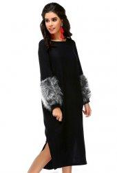 Bonalodi Kol Peluş Yumoş Kumaş Siyah Uzun Midi Boy Kadın Elbise