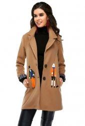 Bonalodi Kaşe Kumaş Nakış İşleme Tasarım Kol Katlı Bayan Kaban Ceket