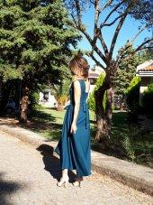 Bonalodi Petrol Mavi Maxi Kuşaklı Kadın Elbise
