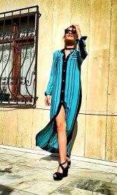 Bonalodi Mavi Siyah Çizgili Maxi Düğmeli Kadın Elbise