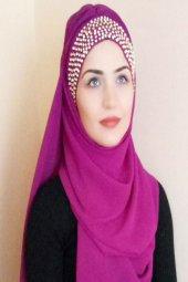 Bayan Şal Boneli Mor Taşlı