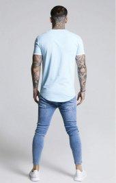 SikSilk Tape SS T-Shirt Açık Mavi Oval Kesim-3