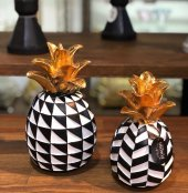 Dekoratif Ananas Black White 2li Ananas