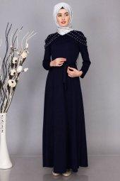 Bayan Giyim Düğün Nişan Lacivert Abiye Elbise