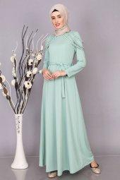 Omzu İnci Detaylı Tesettür Elbise Modelleri