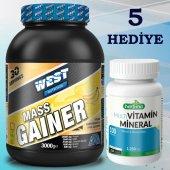 West Nutrition Mass Gainer 3000 gr + Multivitamin Mineral 200 Tablet Kilo Hacim Pkt