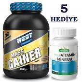 West Nutrition Mass Gainer 3000 gr + Multivitamin Mineral 200 Tablet Kilo Hacim Pkt-2