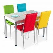 Mutfak Masa Takımı Deri 4 Sandalye + Masa 8 Renk S...
