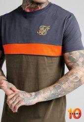 Siksilk Navy Khaki T Shirt Oval Kesim