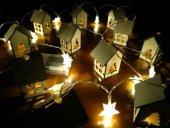 Minyatür Ahşap Ev Şekilli Yıldız Pilli Dekoratif Led Aydınlatma