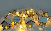 Minyatür Ahşap Ev Şekilli Yıldız Pilli Dekoratif Led Aydınlatma-2