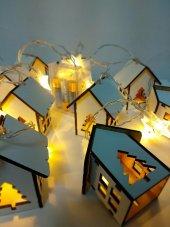 Minyatür Ahşap Ev Şekilli Yıldız Pilli Dekoratif Led Aydınlatma-3