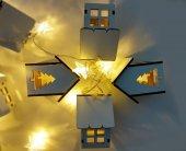Minyatür Ahşap Ev Şekilli Yıldız Pilli Dekoratif Led Aydınlatma-4