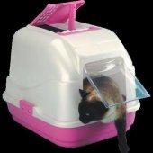 Easy Cat Kapalı Kedi Tuvaleti Pembe Kilitli